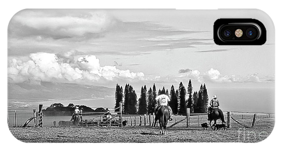 Haleakala Ranch IPhone X Case featuring the photograph Maui Paniolos Herding cattle by Jim Cazel
