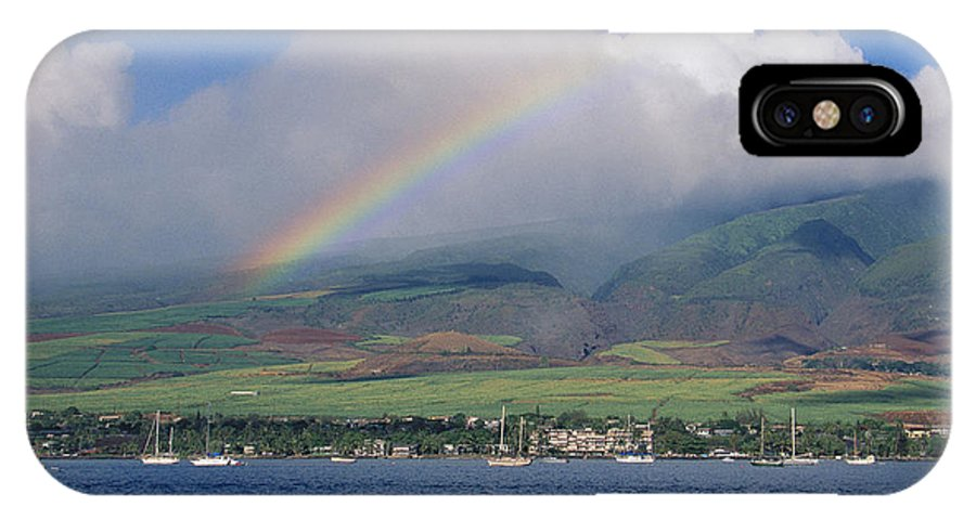 Across IPhone X Case featuring the photograph Maui Rainbow by Ron Dahlquist - Printscapes
