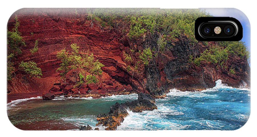 America IPhone X Case featuring the photograph Maui Red Sand Beach by Inge Johnsson