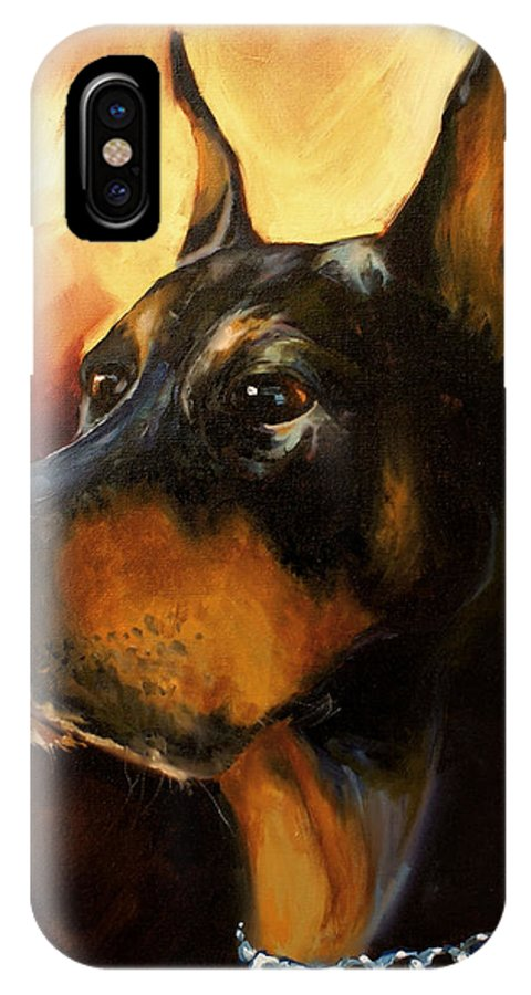Doberman Dog IPhone X Case featuring the painting MAX by Michael Lang