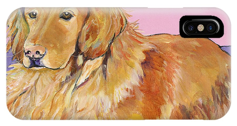 Golden Retriever IPhone X / XS Case featuring the painting Maya by Pat Saunders-White
