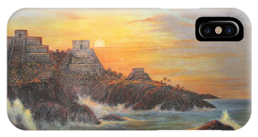 Mexican Art IPhone X Case featuring the painting Mayan Sunset by Sonia Flores Ruiz