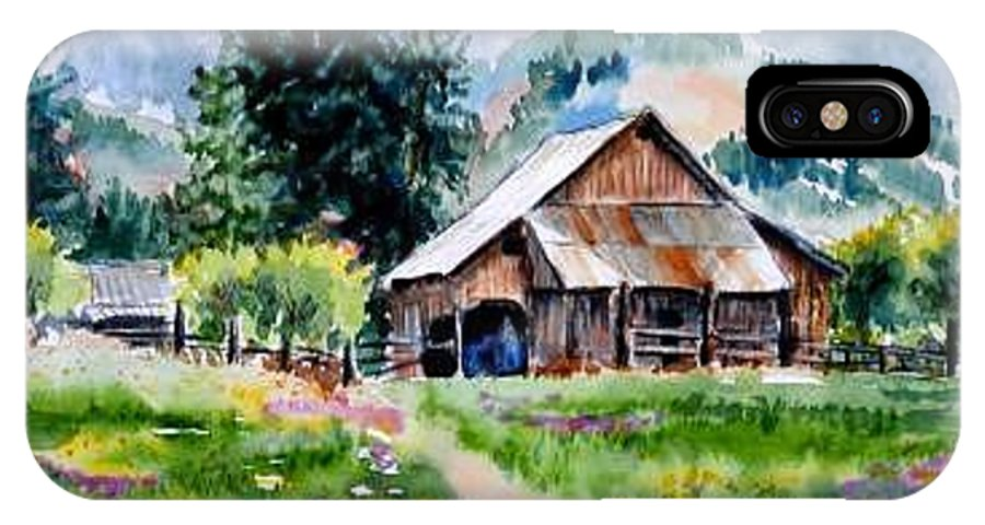 Barn IPhone X Case featuring the painting McGhee Farm by Lynee Sapere