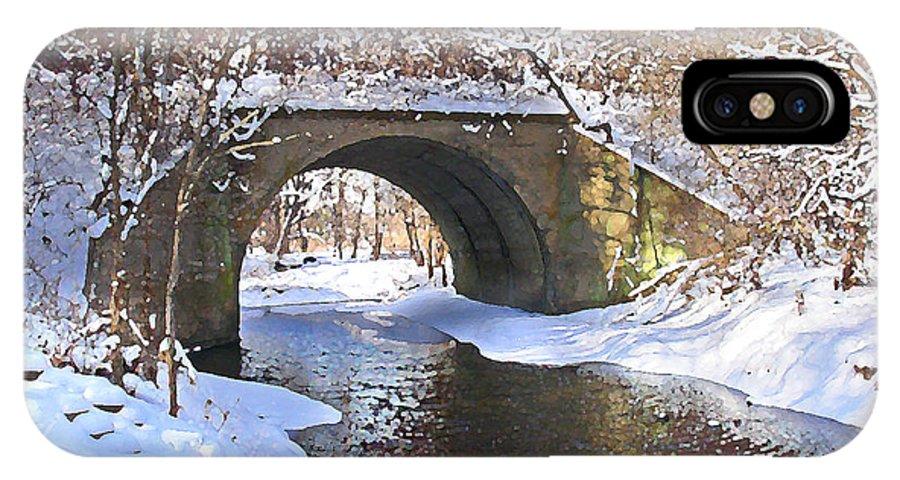 Landscape IPhone X Case featuring the digital art Mcgowan Bridge by Steve Karol
