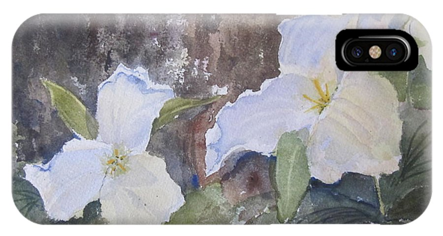 Trillium IPhone X Case featuring the painting Meaghan's Trillium by Sandra Strohschein