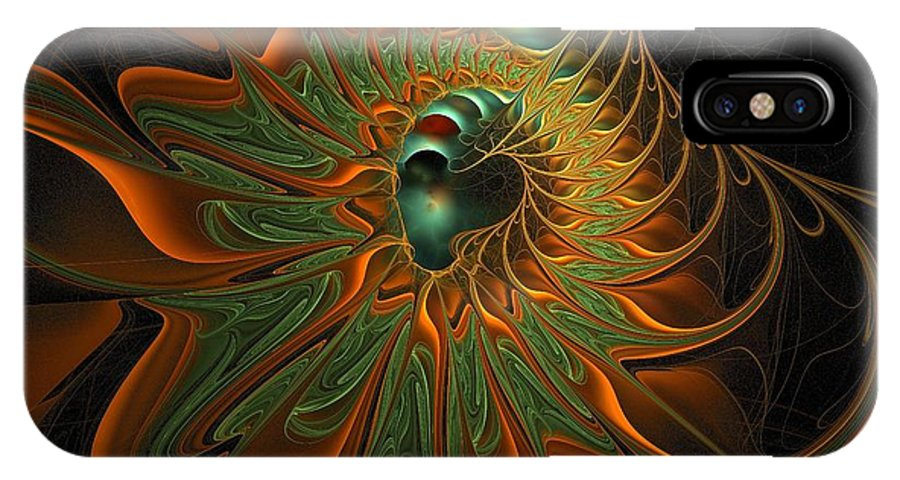 Digital Art IPhone X Case featuring the digital art Meandering by Amanda Moore