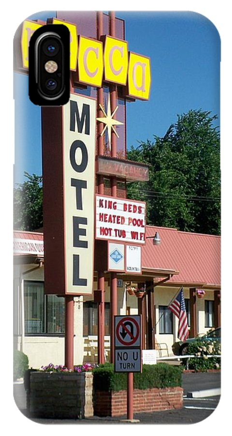Vintage Motel Signs IPhone X Case featuring the photograph Mecca Motel by Anita Burgermeister