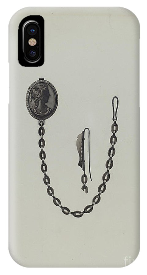 IPhone X Case featuring the drawing Medallion And Chain by Dana Bartlett