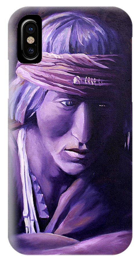 Native American IPhone X Case featuring the painting Medicine Man by Nancy Griswold