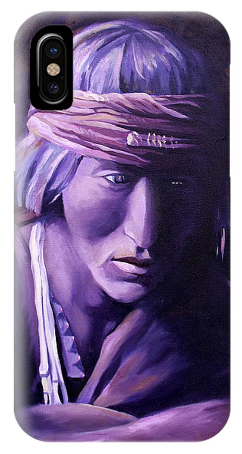 Native American IPhone Case featuring the painting Medicine Man by Nancy Griswold