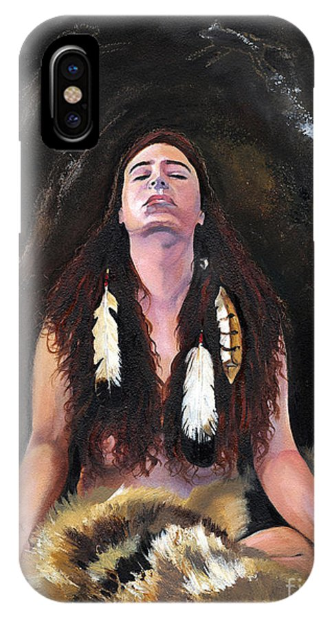 Southwest Art IPhone X Case featuring the painting Medicine Woman by J W Baker