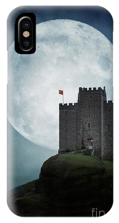 Castle IPhone X Case featuring the photograph Medieval Castle At Night By Moonlight by Lee Avison