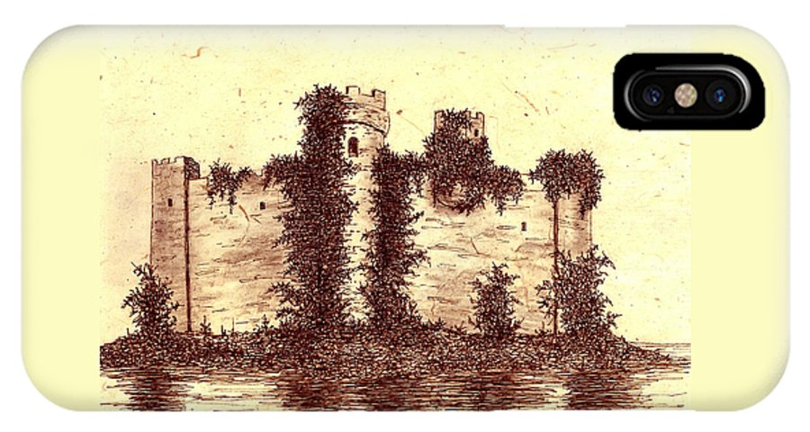 Castle IPhone X Case featuring the drawing Medieval Castle by Michael Vigliotti