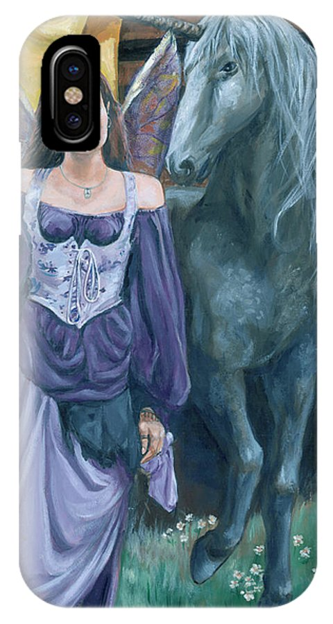 Fairy Faerie Unicorn Dragon Renaissance Festival IPhone Case featuring the painting Medieval Fantasy by Bryan Bustard