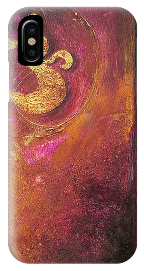 Ohm Om Mantra Yoga Spiritual Buddhist Meditationabstract IPhone X Case featuring the painting Meditations by Dina Dargo