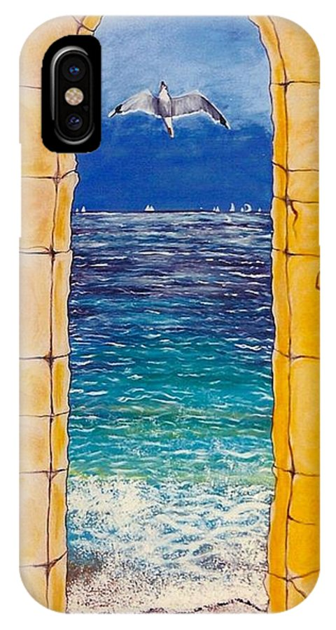 Beach IPhone X Case featuring the painting Mediterranean Meditation by V Boge