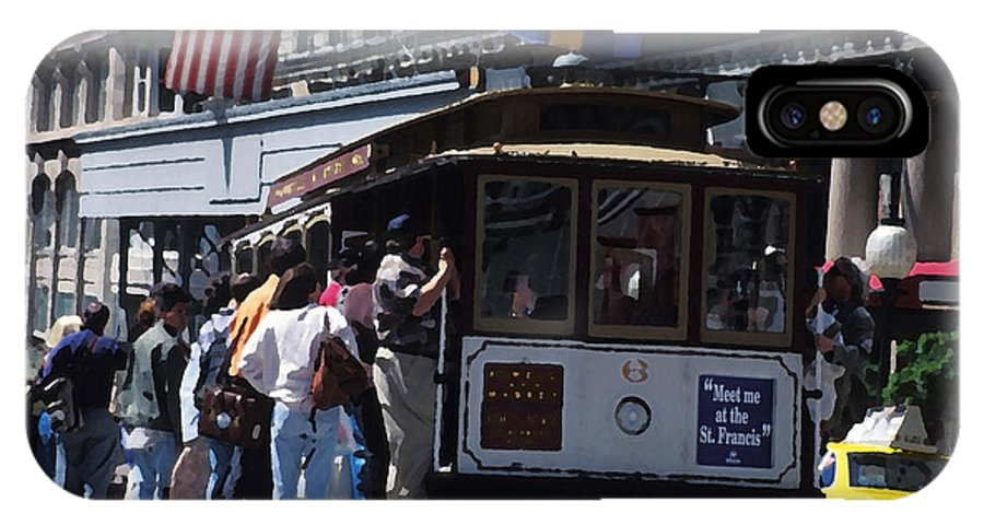 Cable Car IPhone X Case featuring the mixed media Meet Me At The St Francis by Carl Purcell