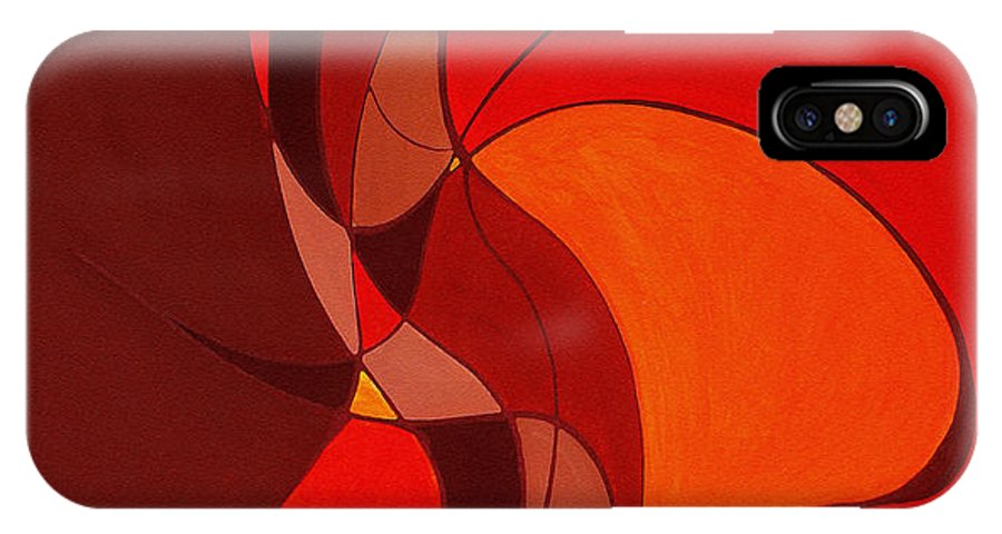 Abstract IPhone X Case featuring the painting Meeting In The Middle 2009 by Ruth Palmer