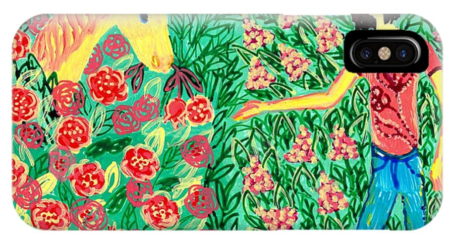 Sue Burgess IPhone X Case featuring the painting Meeting In The Rose Garden by Sushila Burgess