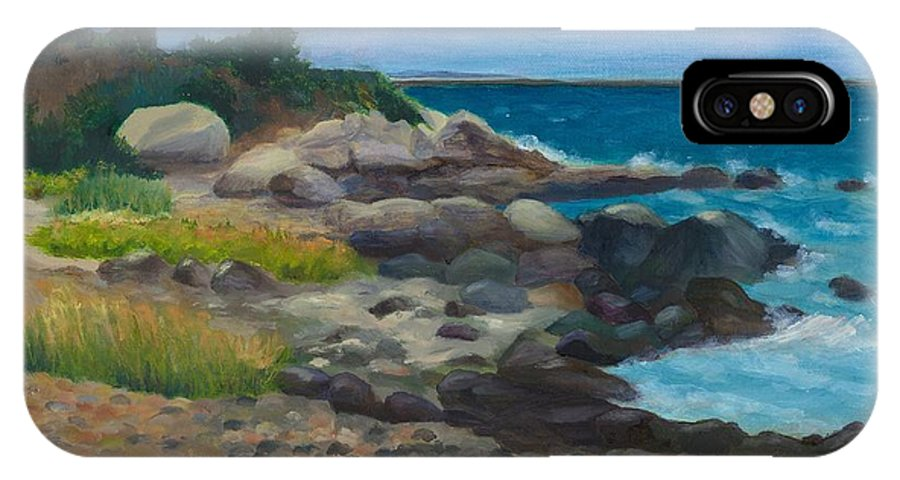 Landscape IPhone X Case featuring the painting Meigs Point by Paula Emery