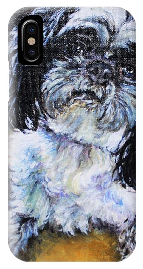 Shih Tzu IPhone X Case featuring the painting Meilee by Misha Ambrosia