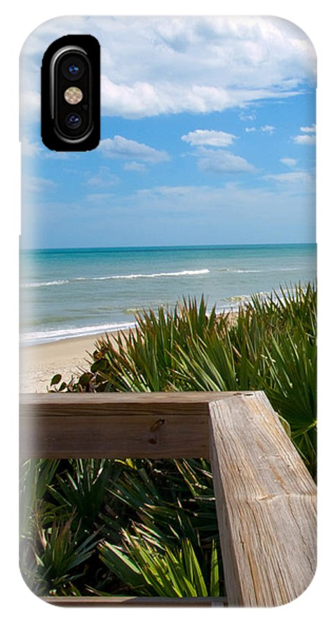 Beach; February; Florida; Warm; Warmth; Temperature; Degrees; Weather; Sun; Melbourne; Sand; Shore; IPhone X Case featuring the photograph Melbourne Beach In Florida by Allan Hughes