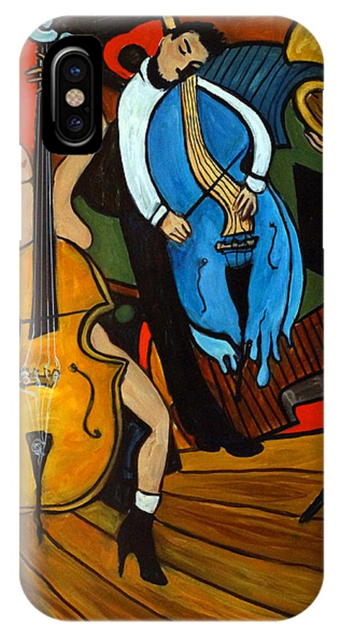 Musician Abstract IPhone X Case featuring the painting Melting Jazz by Valerie Vescovi