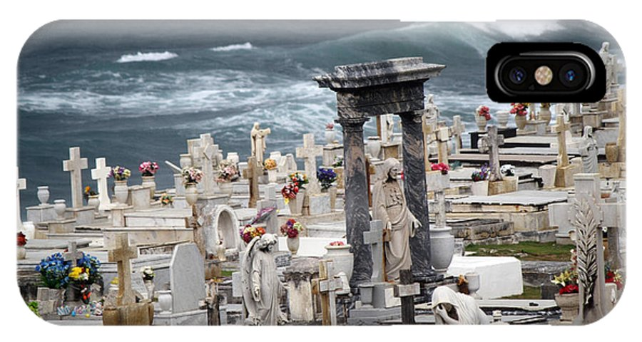 Cemetery IPhone X Case featuring the photograph Memorials Washed Away by Deborah Napelitano