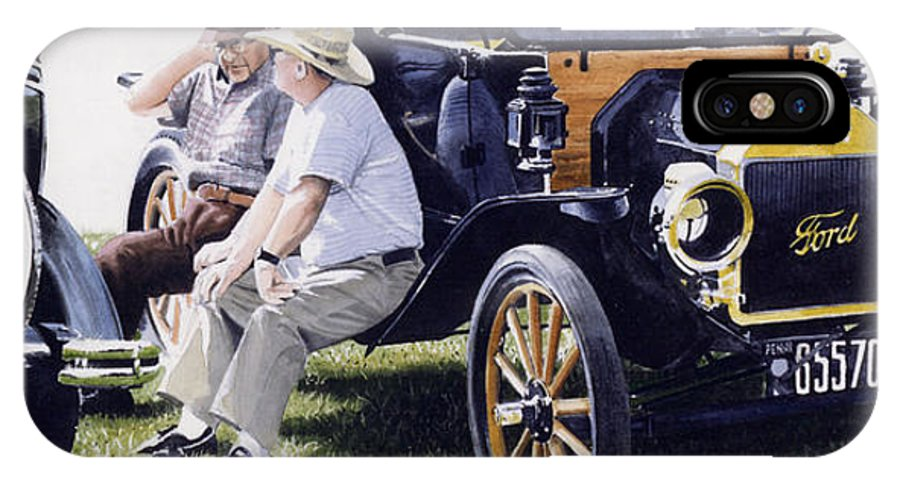 Antique Cars IPhone X Case featuring the painting Men And Their Toys by Denny Bond