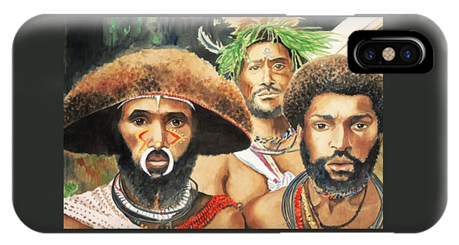 Men From New Guinea IPhone X Case featuring the painting Men From New Guinea by Judy Swerlick