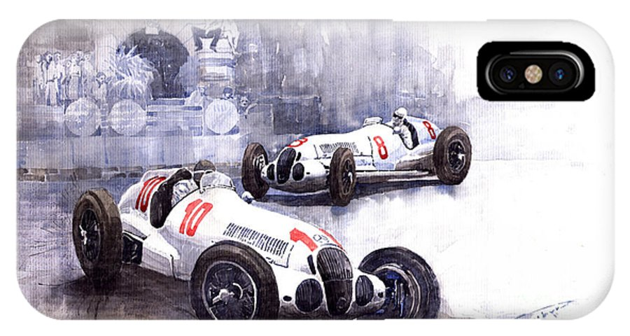 Watercolour IPhone X Case featuring the painting Mercedes Benz W 125 1938 by Yuriy Shevchuk