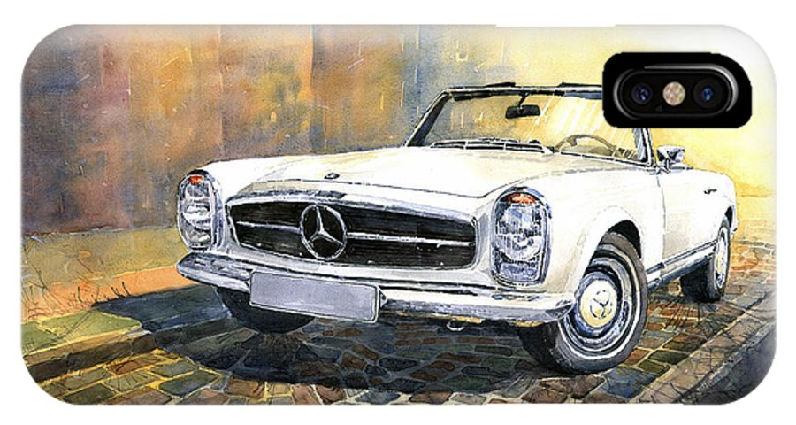 Auto IPhone X Case featuring the painting Mercedes Benz W113 280 Sl Pagoda Front by Yuriy Shevchuk