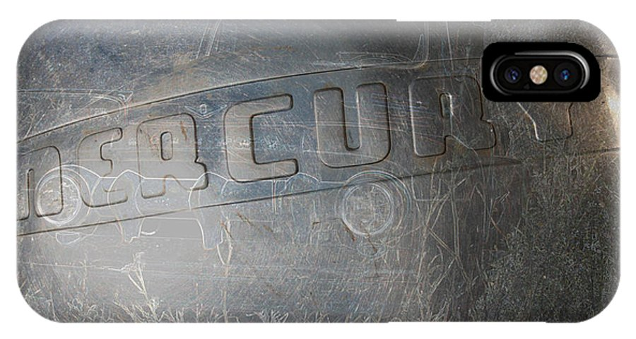 Mercury Truck Antique Auto Old Vehicle Hubcap Farm Auto Graveyard IPhone X Case featuring the photograph Mercury by Andrea Lawrence