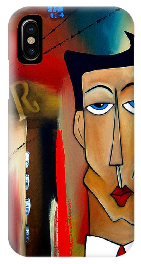 Fidostudio IPhone X Case featuring the painting Merger - Abstract Art By Fidostudio by Tom Fedro - Fidostudio