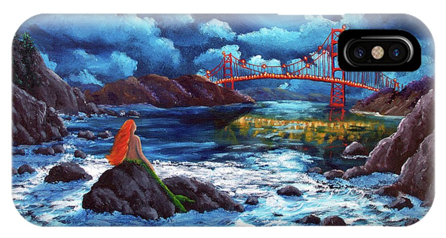 Painting IPhone X Case featuring the painting Mermaid At The Golden Gate Bridge by Laura Iverson