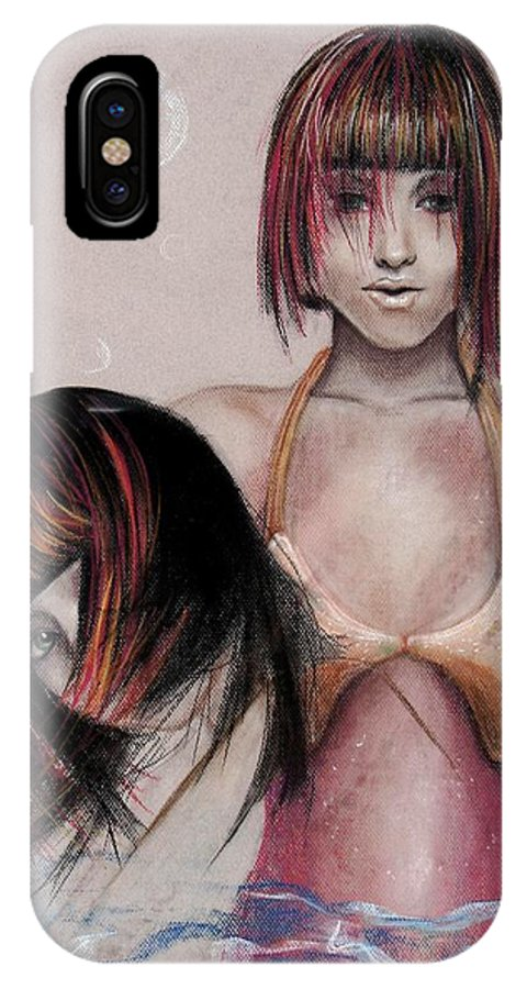 Mermaid IPhone Case featuring the drawing Mermaid Emerging by Maryn Crawford
