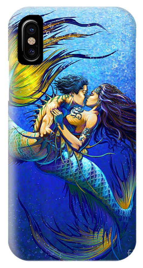Mermaid IPhone X Case featuring the painting Mermaid Kiss by Stanley Morrison