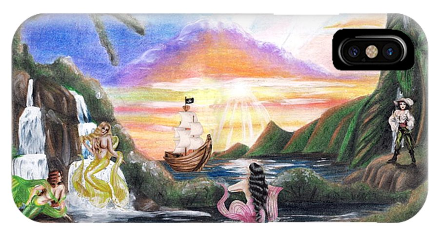 Collage IPhone X Case featuring the drawing Mermaid Lagoon by Scarlett Royal