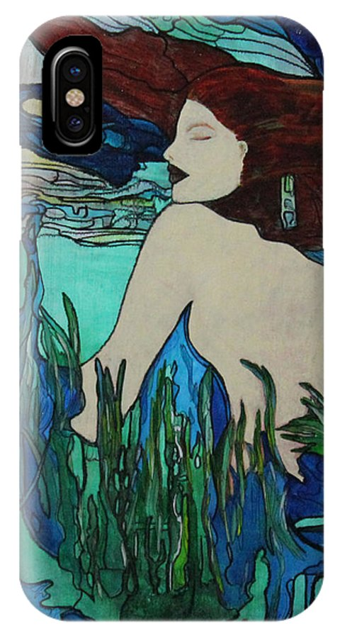 Sea IPhone X / XS Case featuring the painting Mermaid Sleeping by Maxine Miller