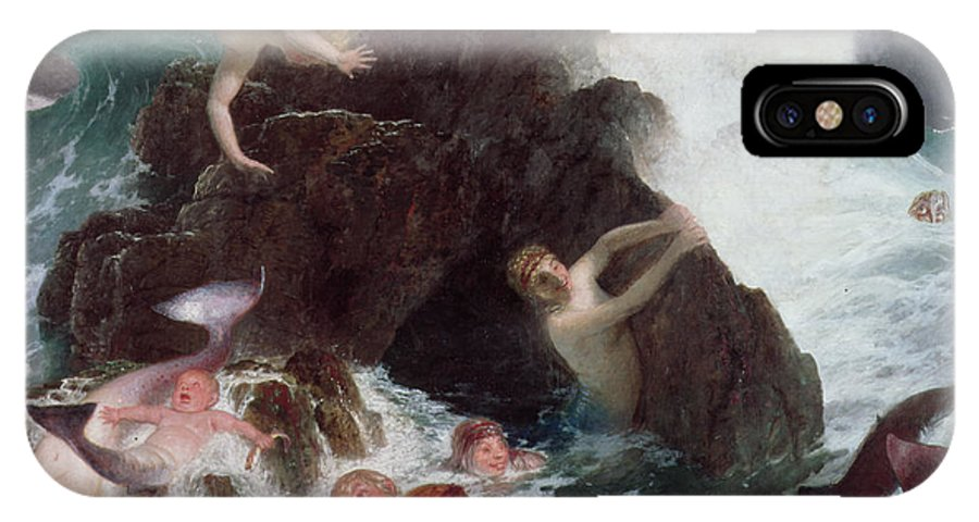 Mermaid; Sirens; Siren; Water Baby; Frolicking; Fun; Ocean; Rocks; Leaping; Jumping IPhone X Case featuring the painting Mermaids At Play by Arnold Bocklin