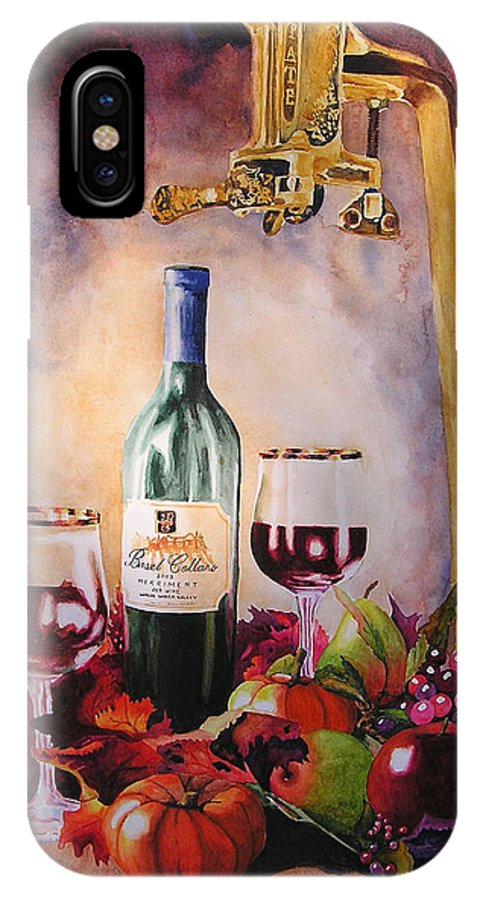 Wine IPhone X Case featuring the painting Merriment by Karen Stark
