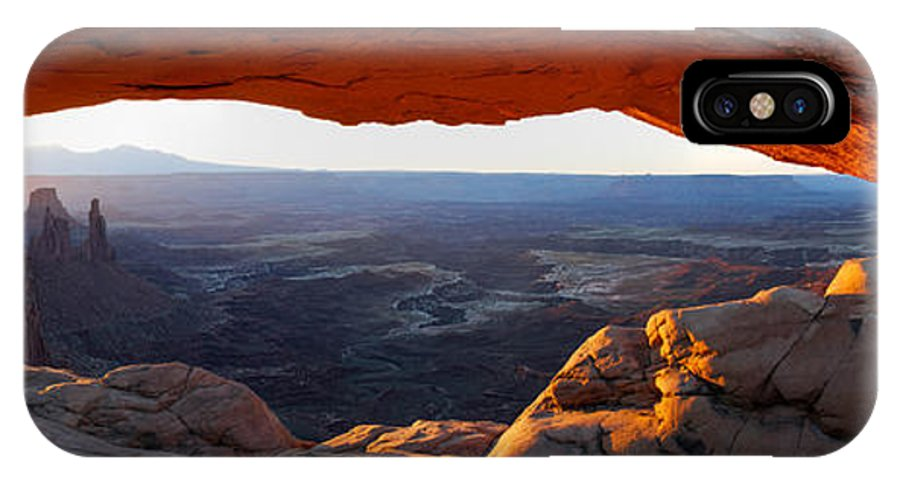 Utah IPhone X Case featuring the photograph Mesa Arch Panorama by Aaron Spong