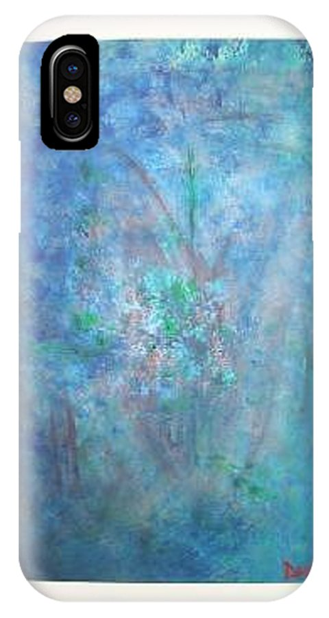 Metal IPhone X / XS Case featuring the painting Metal And Water Abstract. by Lizzy Forrester