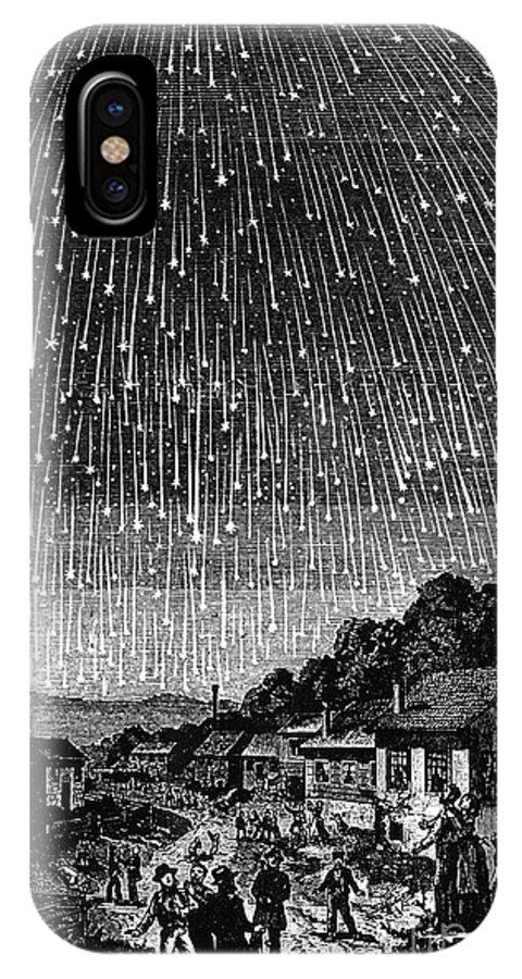 1833 IPhone X Case featuring the drawing Meteor Shower, 1833 by Adolf Vollmy