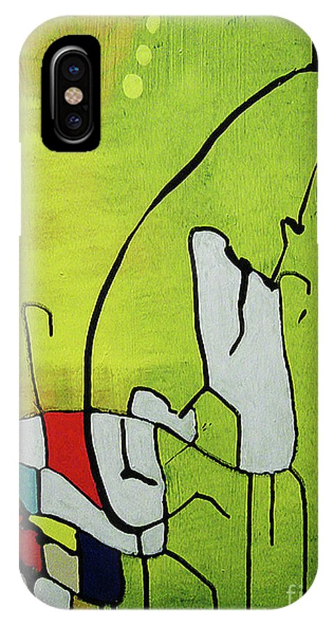 Abstract IPhone X Case featuring the painting Mi Caballo by Jeff Barrett