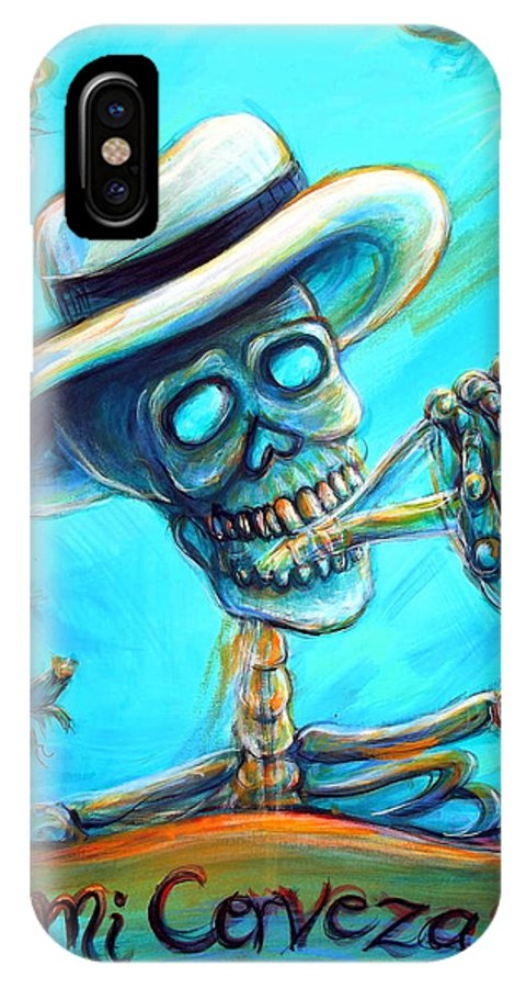 Cerveza IPhone X Case featuring the painting Mi Cerveza II by Heather Calderon
