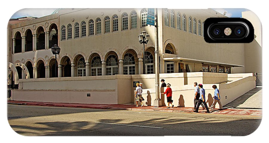 Synagogue IPhone X Case featuring the photograph Miami Beach Synagogue Saturday Morning by Zal Latzkovich