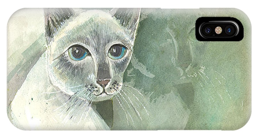 Cat IPhone X Case featuring the painting Michael Campbell Reflects by Arline Wagner