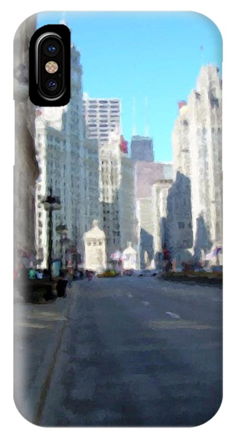 Chicago IPhone Case featuring the digital art Michigan Ave Tall by Anita Burgermeister