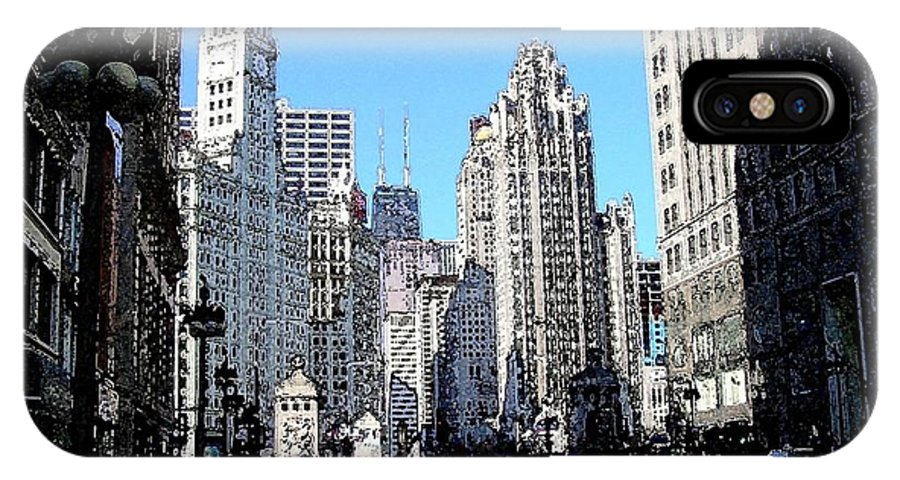 Chicago IPhone Case featuring the digital art Michigan Ave Wide by Anita Burgermeister